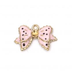Metal pendant ribbon, painted in pink 27x17x4 mm hole 3 mm color golden