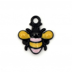 Pendant metal bee charm 22x20x3 mm hole 3 mm color black - 2 pieces