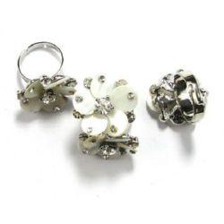 Пръстен метал седеф кристали