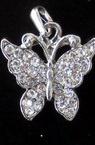 Висулка метал пеперуда с камъни 21x5 мм цвят сребро
