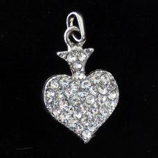 Висулка метал с кристали сърце 17x22 мм цвят сребро