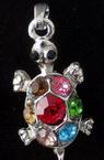 Висулка метал костенурка с цветни камъни 16x26 мм сребро