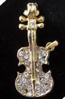 Висулка метал цигулка с камъни 21x5 мм злато