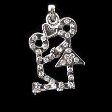 Висулка метал с кристали момче и момиче 22x32 мм цвят сребро