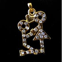 Висулка метал с кристали момче и момиче 22x32 мм цвят злато