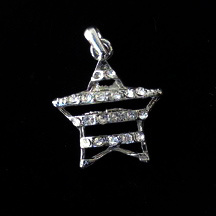 Висулка метал с кристали звезда 22x5 мм цвят сребро
