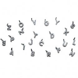 Висулка метал с кристали буква латинска цвят сребро