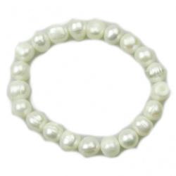 Гривна естествена перла 8±9x8±9 мм бяла клас АА