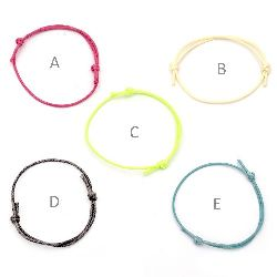 Гривна шнур памук Корея регулеруема 40-70 мм микс цветове