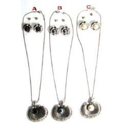 Комплект гердан обеци метал кристали пластмаса