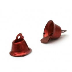 Камбанка метал 14х16 мм дупка 2 мм цвят червен -10 броя