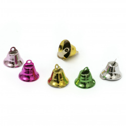 Metal Bell for DIY decorations 15x16 mm hole 2 mm color mix - 10 pieces