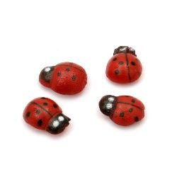 Wooden ladybug 10x13 mm with glue - 20 pieces