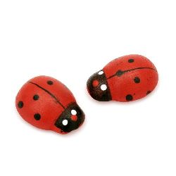 Wooden ladybug with glue for decoration of gifts, frames, albums, notebooks 17x23 mm - 100 pieces