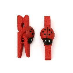 Wooden clips 5x30 mm with red ladybug for decorating festive cards, gifts, photos - 20 pieces