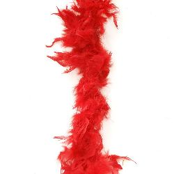 Марабу - шал от пера 180 см червен