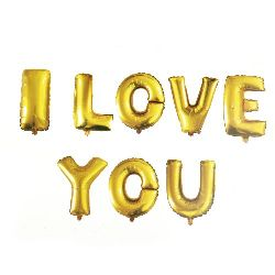 Foil balloon I LOVE YOU -8 gold color letters
