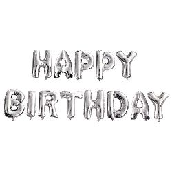 Foil balloon HAPPY BIRTHDAY -13 silver color letters
