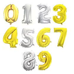 Foil balloon from 0 to 9 digits 25 ~ 30x40 ~ 46 cm color Asorte