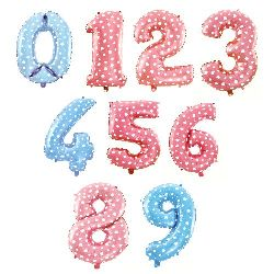 Foil balloon from 0 to 9 digits 25 ~ 30x40 ~ 46 cm Assorted color
