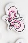 Πεταλούδα  ξύλινο διακοσμητικό με αυτοκόλλητο 35x25 mm ροζ -10 κομμάτια