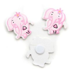 Wooned Elephant with adhesive tape 35x30 mm pink - 10 pieces