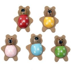 Wooden Decoration Ornament Bear 43x32x13 mm adhesive