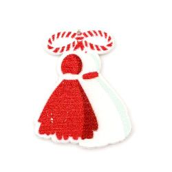 Wooden Decoration Ornament martenitsa 40x32x2 mm hole 0.5 mm with adhesive - 5 pieces