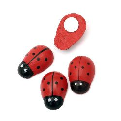 Wooden Ladybug Adhesive 19x28 mm 10 pieces