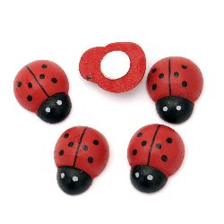 Ladybug wooden 20x25 mm with adhesive -10 pieces