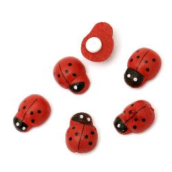 Ladybug wooden 11x15 mm adhesive -20 pieces