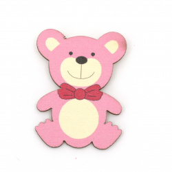 Wooden Bear with adhesive tape 38x29 mm pink - 10 pieces