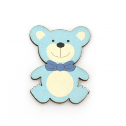 Wooden Bear with adhesive tape 38x29 mm blue - 10 pieces