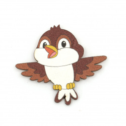 Wooned Bird with adhesive tape 35x38 mm brown - 10 pieces