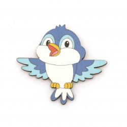 Wooned Bird with adhesive tape 35x38 mm blue - 10 pieces