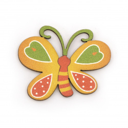 Wooden Butterfly with adhesive tape 29x38 mm - 10 pieces