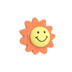 Figura din lemn soare 3D cu zambet de 25x8 mm tip cabochon -2 piese