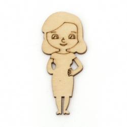 Figurină din lemn pentru decorare fată 49,5x21x2 mm -10 bucăți
