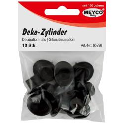 Шапка цилиндър пластмаса за декорация 2x2.4 см Meyco черна -10 бр
