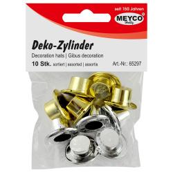 Шапка цилиндър пластмаса за декорация 2x2.4 см Meyco сребро и злато -10 бр