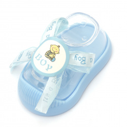 Plastic Baby boot for decoration 90x45 mm  blue