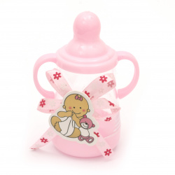 Plastic Baby bottle for decoration 85x40 mm pink