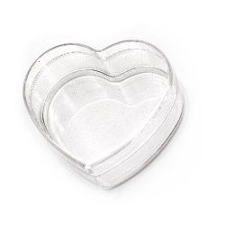 Plastic transparent heart box 65x60x30 mm