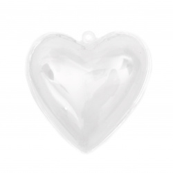 Heart plastic transparent 2 parts 80x78x45 mm