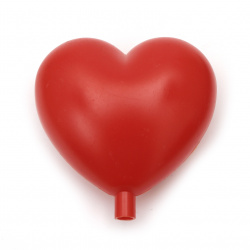 Сърце пластмасово 95 мм с накрайник дупка 8 мм червено -1 брой