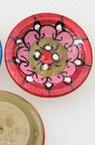Фигурка дървена 24 мм ръчно рисувана чинийка с дупка 2 мм -5 броя