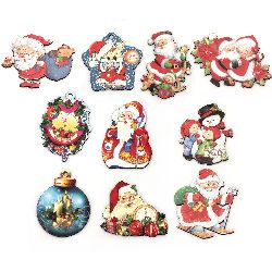Souvenir magnet 70 ~ 80x50 mm MDF CHRISTMAS ASSORTED