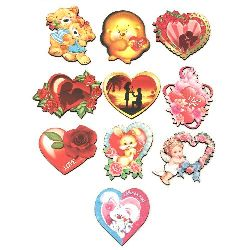 Souvenir magnet 75 ~ 60x50 mm MDF Valentine's Day assorted
