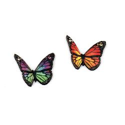 Butterfly MDF 23x20 mm mixed colors -30 pieces