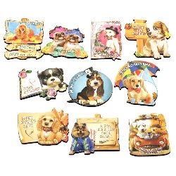 Souvenir magnet 75 ~ 60x50 mm MDF Dogs Assorted